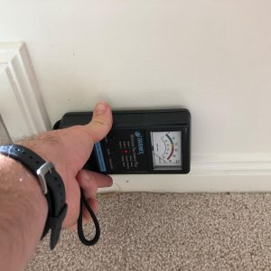 Man Using Moisture Meter for Building inspection